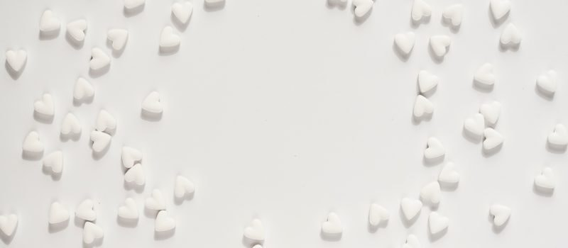white background with white hearts